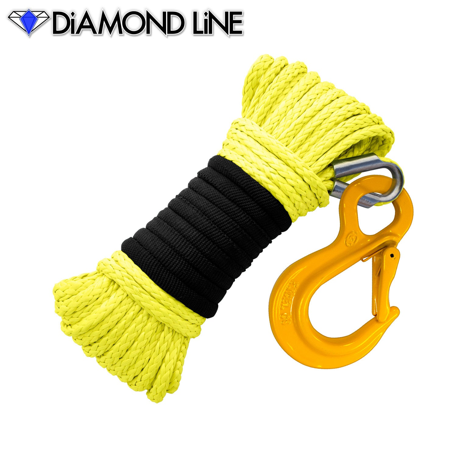 "3/16"" x 50' Diamond Line Winch Rope Mainline - Yellow with Hook."