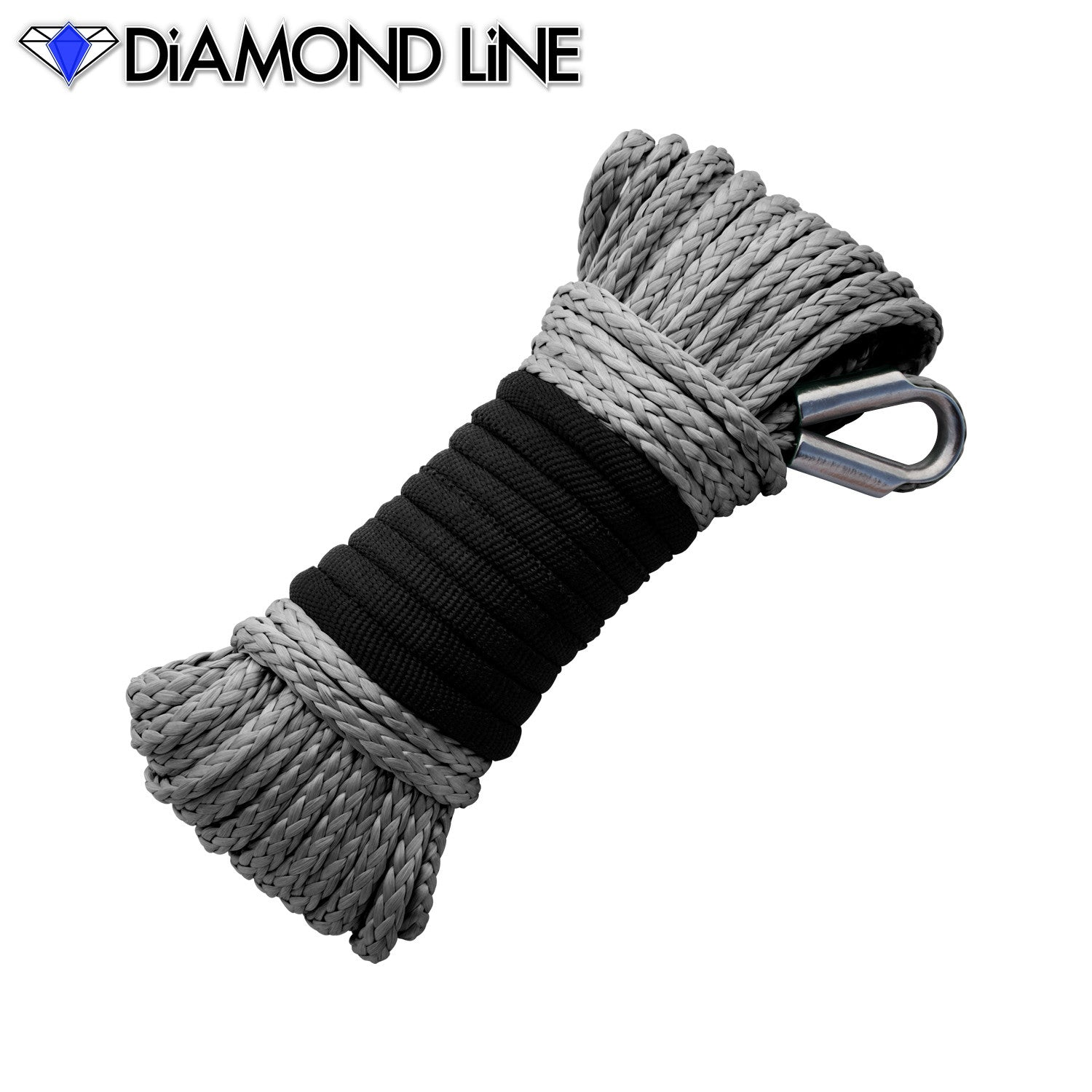 "3/16"" x 50' Diamond Line Winch Rope Mainline - Gray."