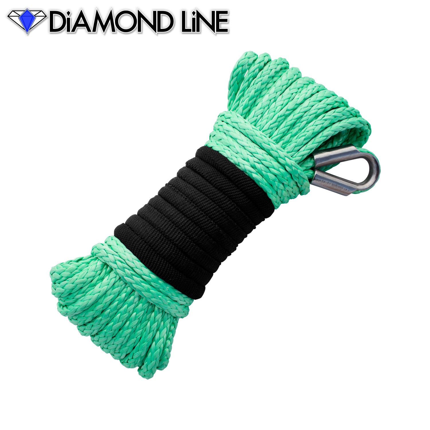 "3/16"" x 50' Diamond Line Winch Rope Mainline - Teal Green."