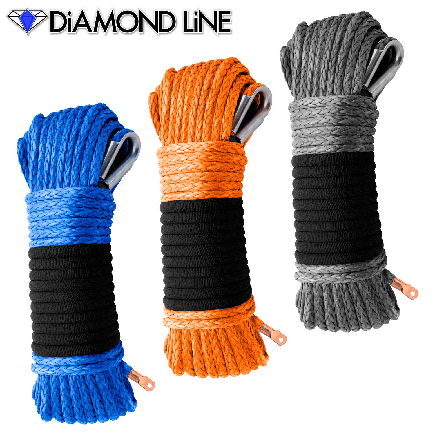 "5/16"" Diamond Line Winch Rope Mainline - Assorted Colors."