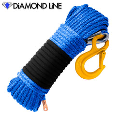 "5/16"" Diamond Line Winch Rope Mainline - Blue with Hook."