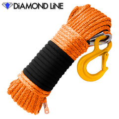 "5/16"" Diamond Line Winch Rope Mainline - Orange with Hook."