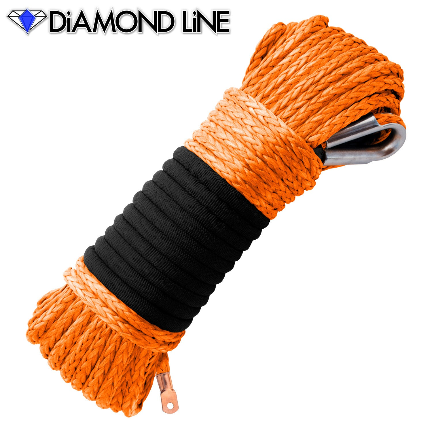 "5/16"" Diamond Line Winch Rope Mainline - Orange."