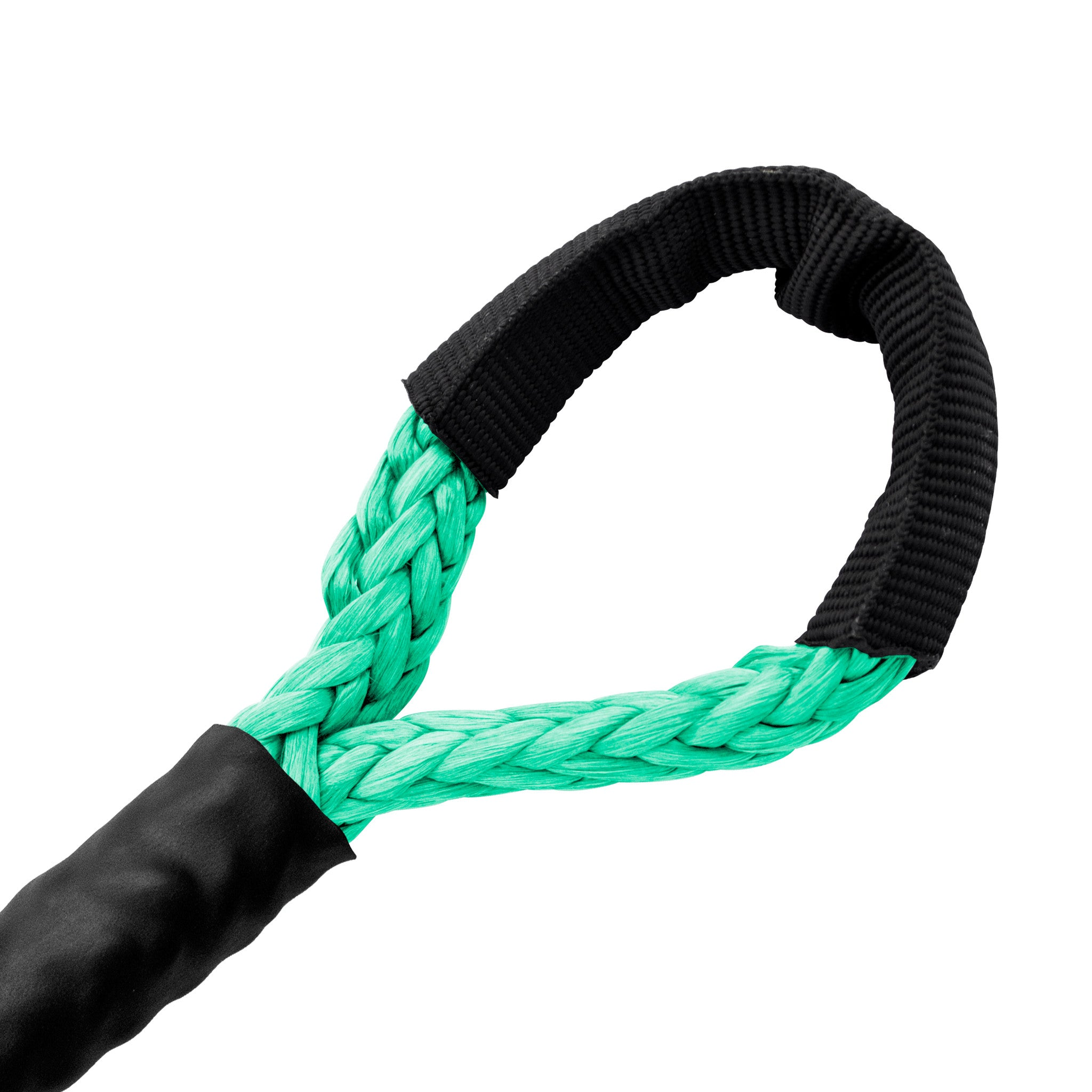 "3/16"" Diamond Line Winch Rope Soft Eye - Teal Green."