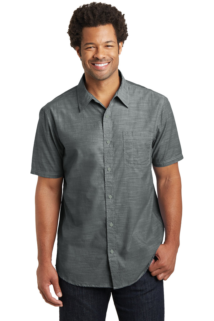 District Made Mens Short Sleeve Washed Woven Shirt - GREEQ