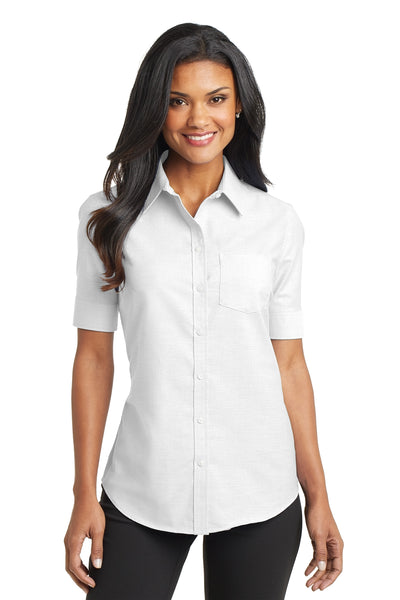 Port Authority Ladies Short Sleeve SuperPro Oxford Shirt - GREEQ