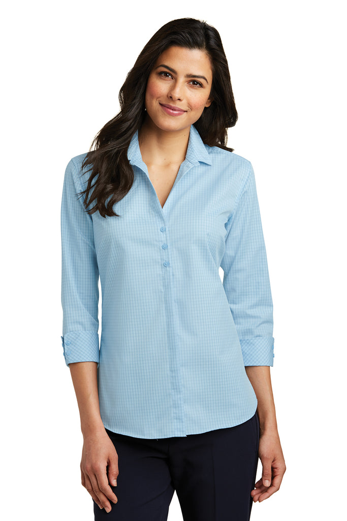 Port Authority Ladies 3/4-Sleeve Micro Tattersall Easy Care Shirt - GREEQ