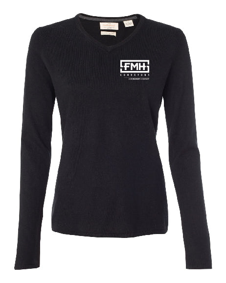 Vintage Women's Cotton Cashmere V-Neck Sweater - Weatherproof - FMH-11032E