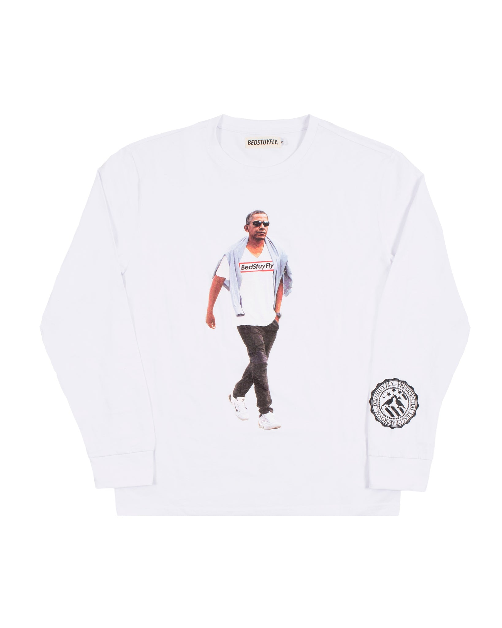 Obama Long Sleeve T-Shirt (Wht)