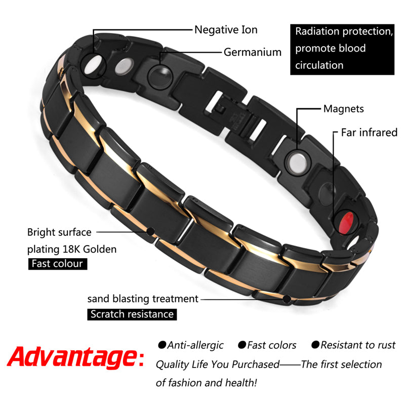 Bio Energy 4 in 1 Stainless Steel Magnetic Bracelets Benefits for Pain Arthritis