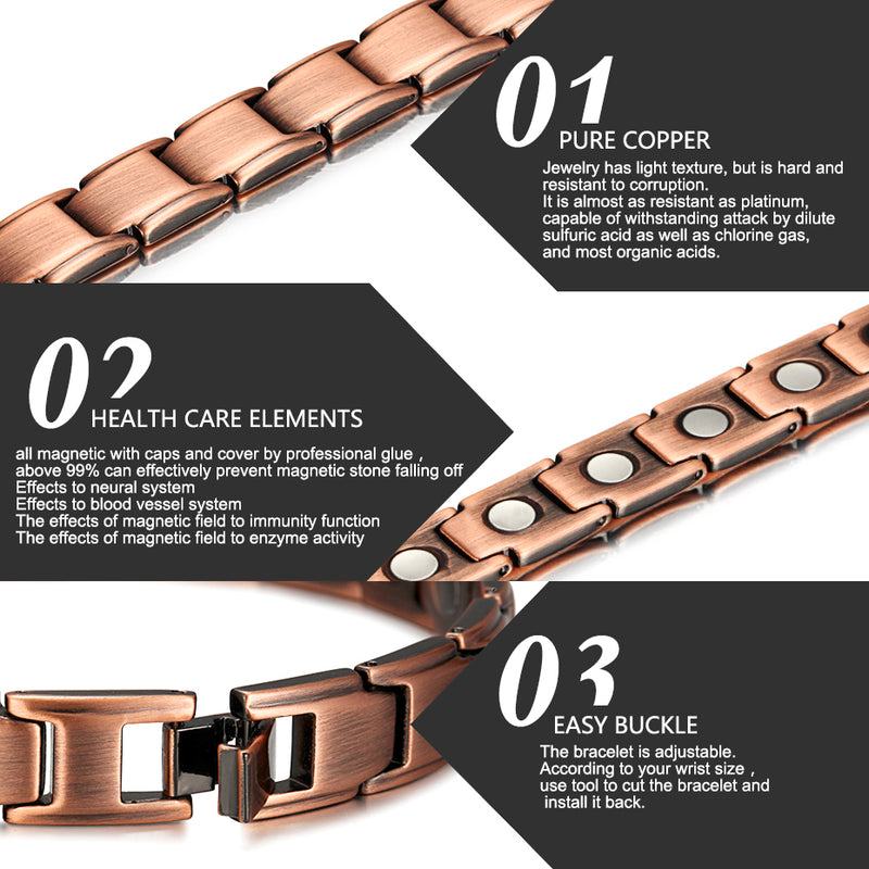 Pure Copper Magnetic Therapy Bracelet for Arthritis Joint Pain