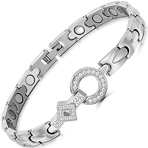 Pure Titanium Steel Womens Magnetic Bracelet for Pain Relieve