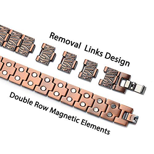 Pure Copper Bracelet for Magnetic Joint Pain Double Row Strong Magnetic for Carpal Tunnel