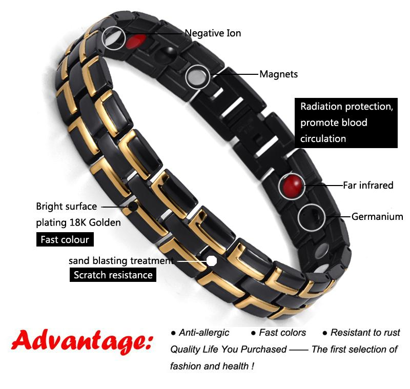 Stainless Steel Carpal Tunnel Pain Magnetic Therapeutic Bracelets for Arthritis