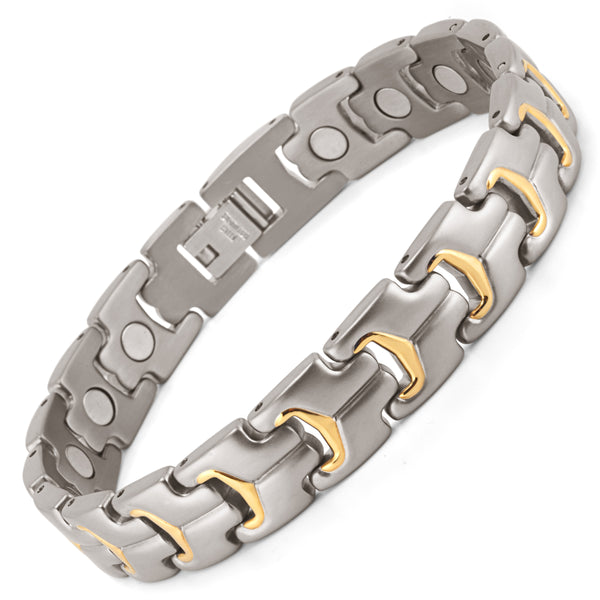Mens Effective Stainless Steel Magnetic Therapy Bracelet for Relief