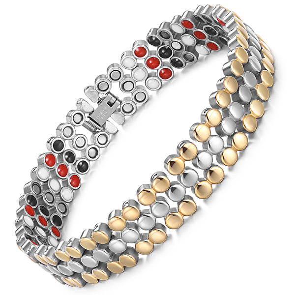 Powerful Most Effective Stainless Steel Rainso Magnetic Therapy Bracelets