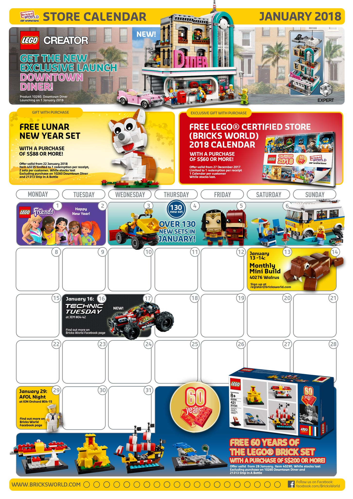 Lego 2019 January Calendar LEGO® Certified Stores (Bricks World) January 2018 Calendar