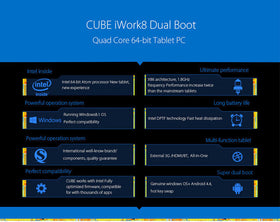 Cube iWork8 8.0 Inch 800p HD 2GB/32GB Z3735 Quad Core Dual Win+Android