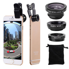3-in-1 Wide Angle Macro Fisheye Lens Kit with Clip 0.67x Mobile Phone Fish Eye Lens for iPhone Lens