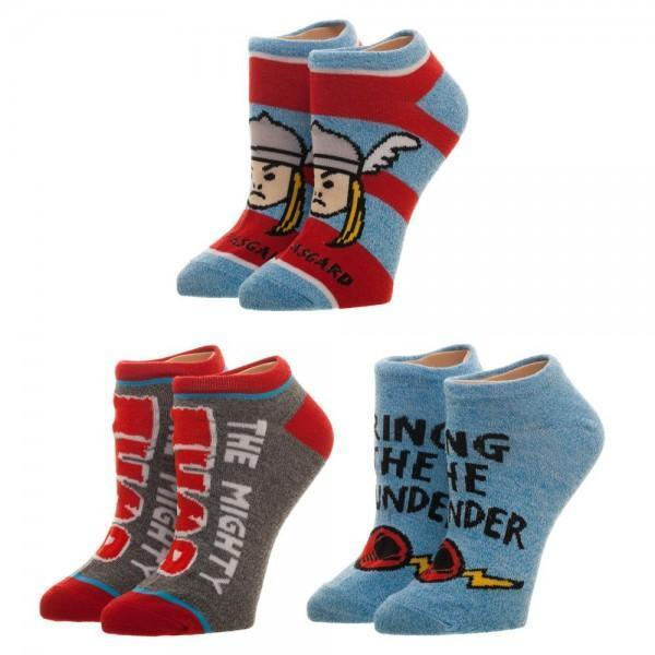 Marvel Comics Marvel Thor Youth Ankle Socks 3 Pack