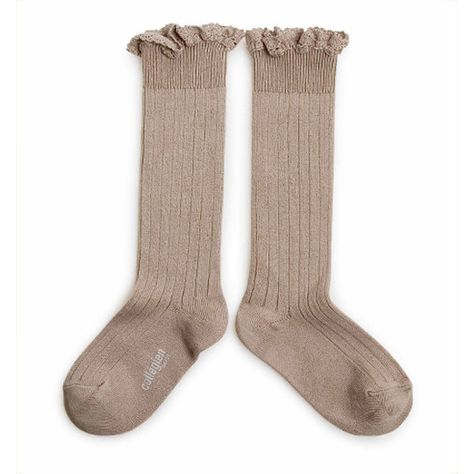 Collégien // Collegien Lace Ruffle Trim Knee Socks in Petite Taupe - All The Little Bows