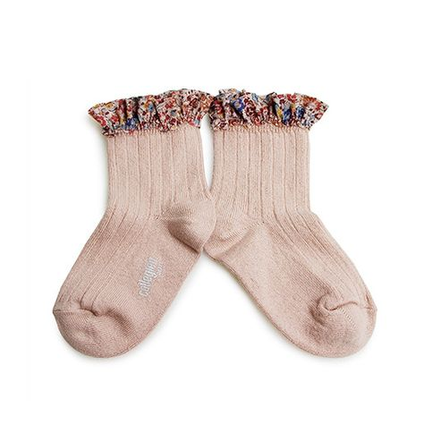 Collégien // Collegien Liberty Ruffle Trim Ankle Socks in Vieux Rose - All The Little Bows