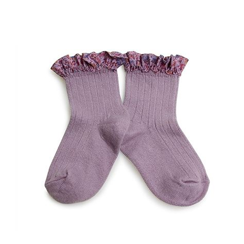 Collégien // Collegien Liberty Ruffle Trim Ankle Socks in Glycine Du Japon - All The Little Bows