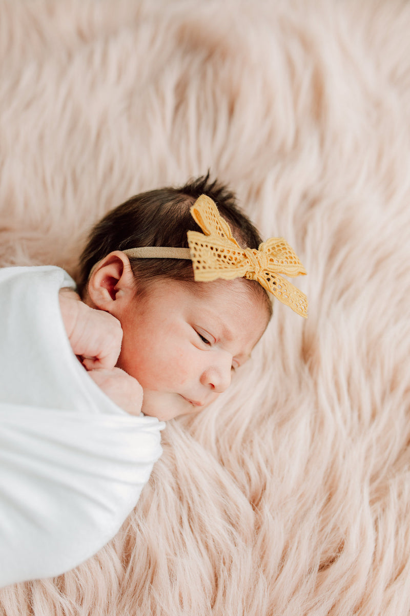 All The Little Bows // Lace // Honeycomb Floral - Headband or Clip - All The Little Bows