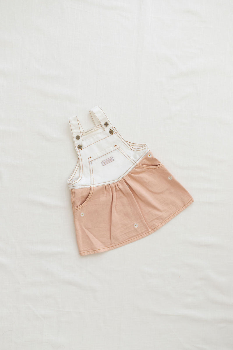 Fin & Vince // salopette | peach w/ daisy embroidery - All The Little Bows