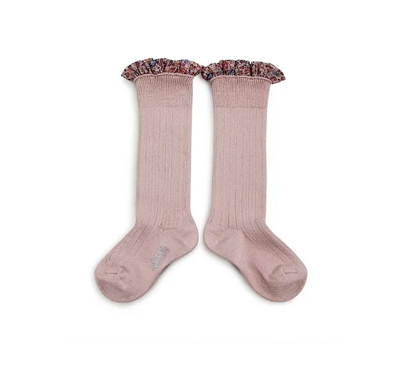 Collégien // Collegien Liberty Ruffle Trim Knee Socks in Vieux Rose - All The Little Bows