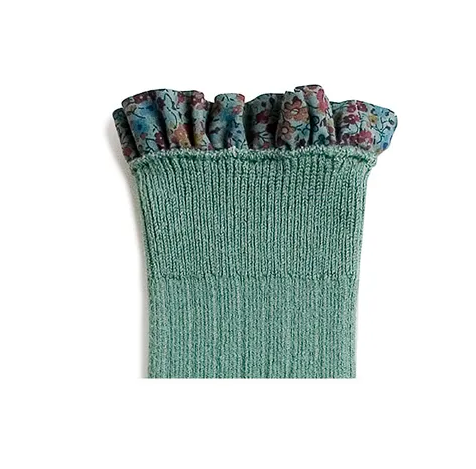 Collégien // Collegien Liberty Ruffle Trim Knee Socks in Celadon - All The Little Bows