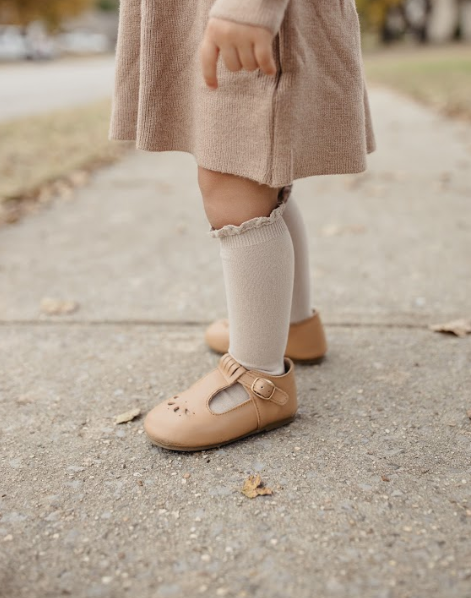 Condor // Lace Ruffle Knee Socks // Oat - All The Little Bows