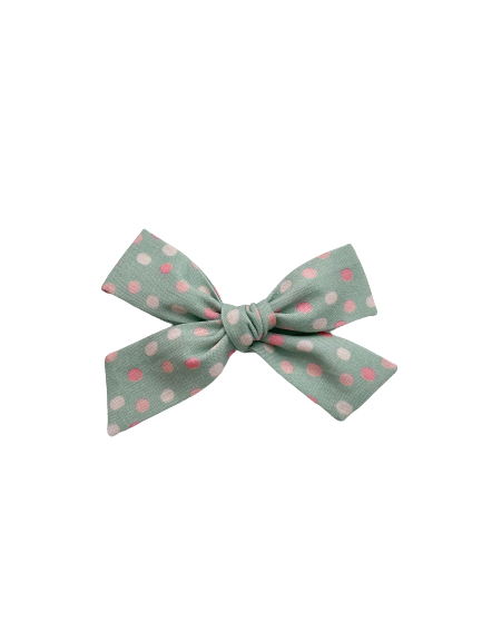 All The Little Bows // Classic Bow | Pink Dots on Mint - All The Little Bows