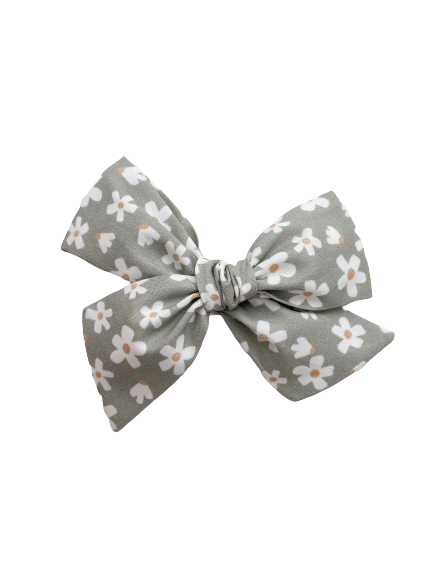 All The Little Bows // Pinwheel Bow | Daisies on Muted Sage - All The Little Bows