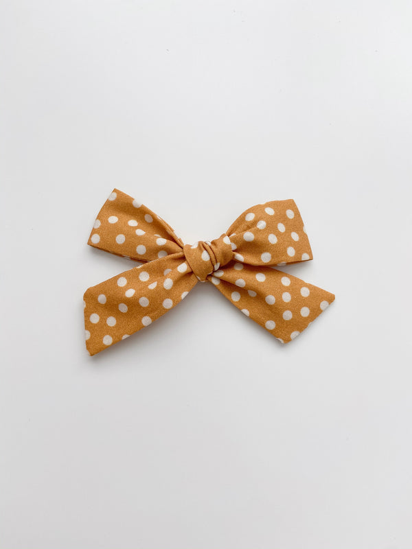 All The Little Bows // Classic Bow | White Dots on Mustard - All The Little Bows