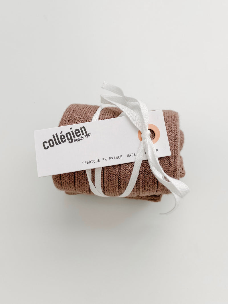 Collégien // Collegien Ribbed Knee Socks in Praline de Lyon - All The Little Bows