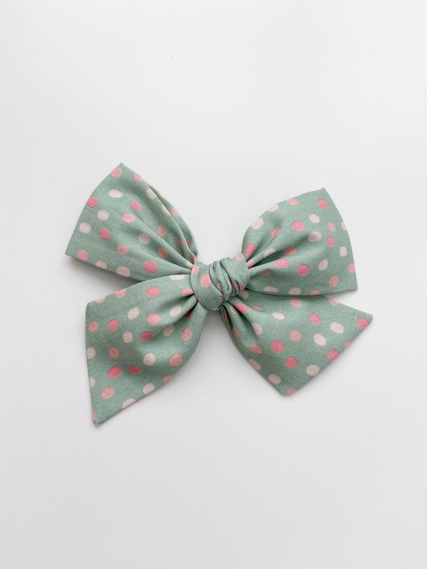 All The Little Bows // Pinwheel Bow | Pink Dots on Mint - All The Little Bows
