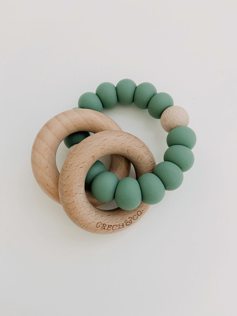Grech & Co // Sedona Teething Ring + Rattle // Fern - All The Little Bows