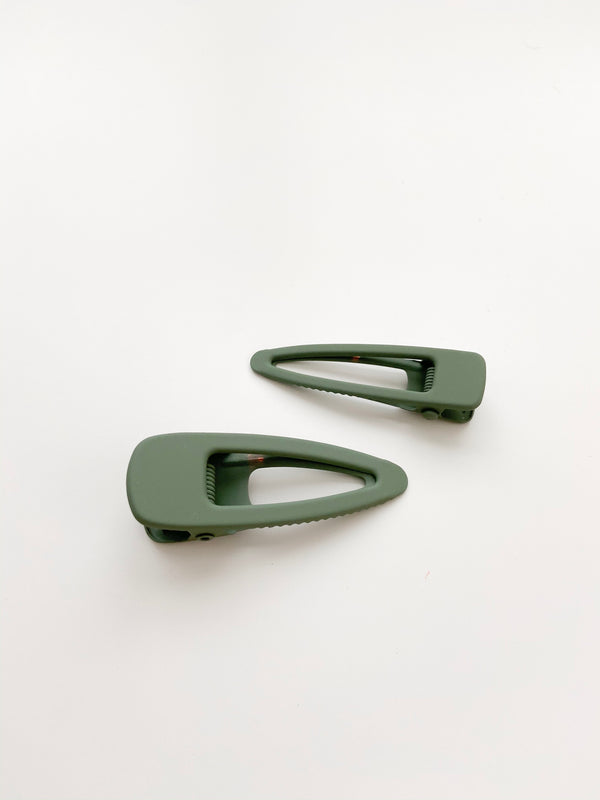 Grech & Co // Matte Clips, Set of Two // Fern - All The Little Bows