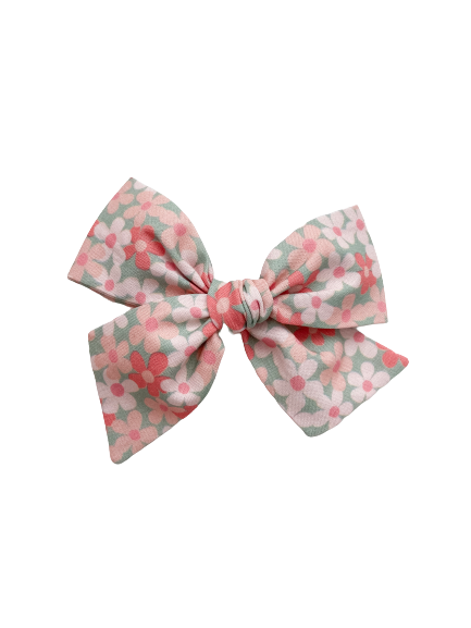 All The Little Bows // Pinwheel Bow | Pink Posies on Mint - All The Little Bows