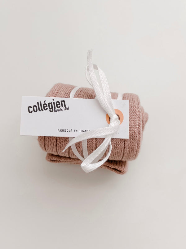 Collégien // Collegien Ribbed Knee Socks in Vieux Rose - All The Little Bows