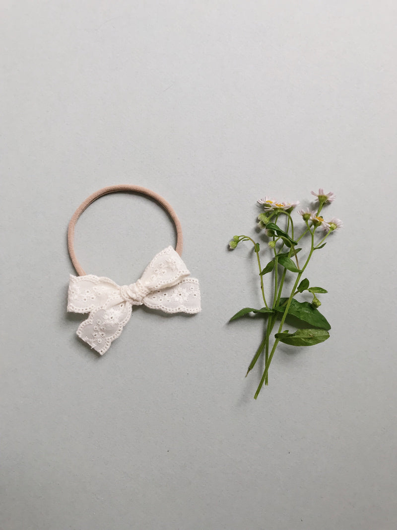 All The Little Bows // Lace // Ivory Floral - Headband or Clip - All The Little Bows