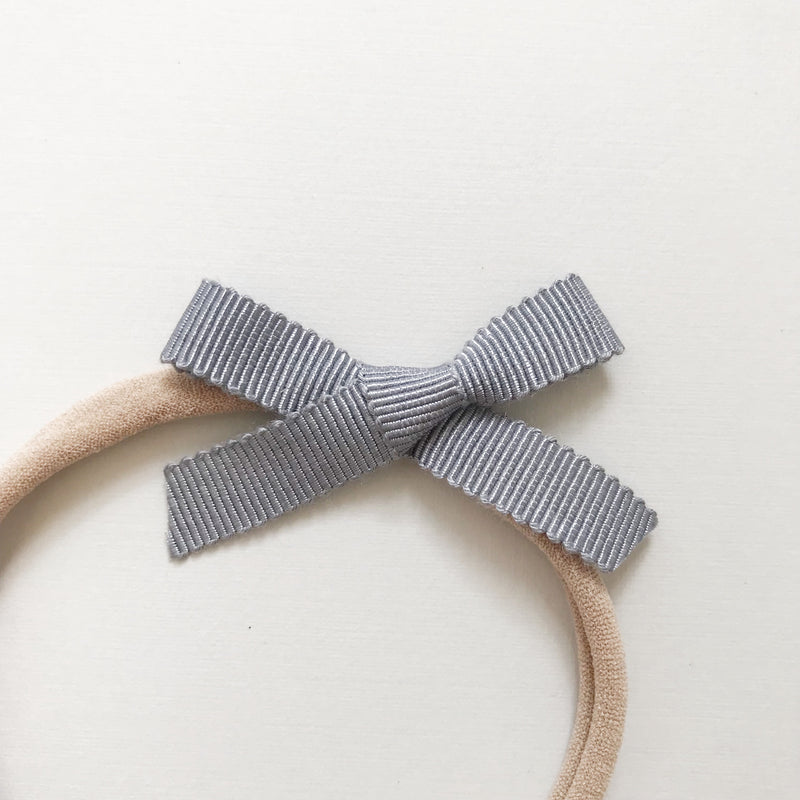 "All The Little Bows // Petite Ribbon Bow // ""Gray"" Headband - All The Little Bows"
