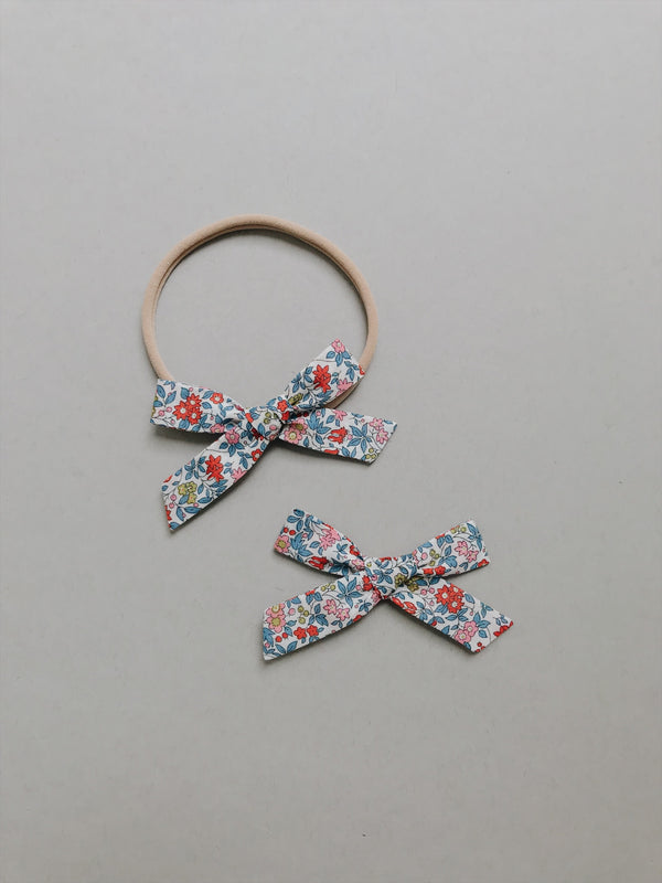 "All The Little Bows // Simple // Liberty of London ""Chamomile"" in Red  - Headband, Clip, or Pigtail Set - All The Little Bows"