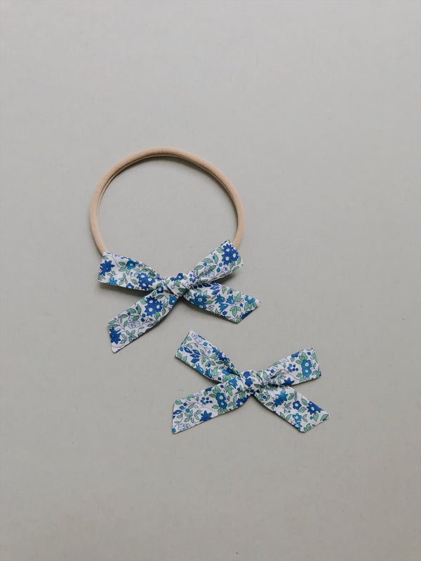 "All The Little Bows // Simple // Liberty of London ""Chamomile"" in Blue  - Headband, Clip, or Pigtail Set - All The Little Bows"