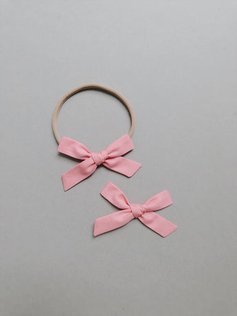 Simple // Classic Pink - Headband, Clip, or Pigtail Set - All The Little Bows
