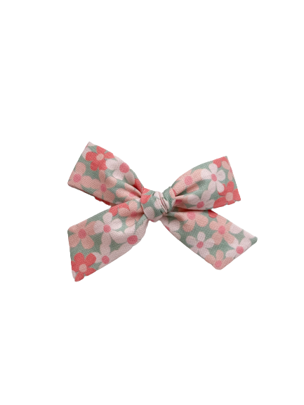 All The Little Bows // Classic Bow | Pink Posies on Mint - All The Little Bows