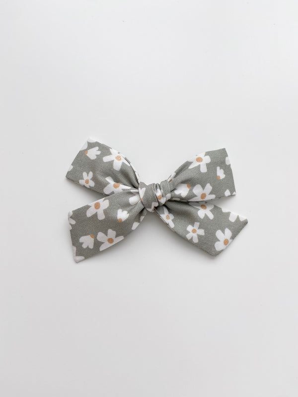 All The Little Bows // Classic Bow | Daisies on Muted Sage - All The Little Bows