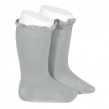 Condor // Lace Ruffle Knee Socks // Mist - All The Little Bows
