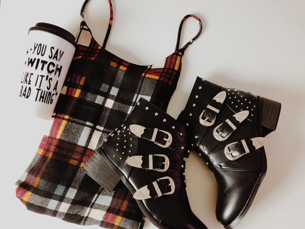 Studded ankle booties